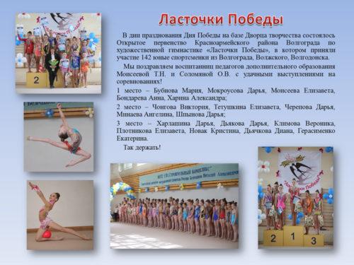 В дни празднования Дня Победы на базе Дворца творчества состоялось Открытое первенство Красноармейского района Волгограда по художественной гимнастике «Ласточки Победы», в котором приняли участие 142 юные спортсменки из Волгограда, Волжского, Волгодонска.